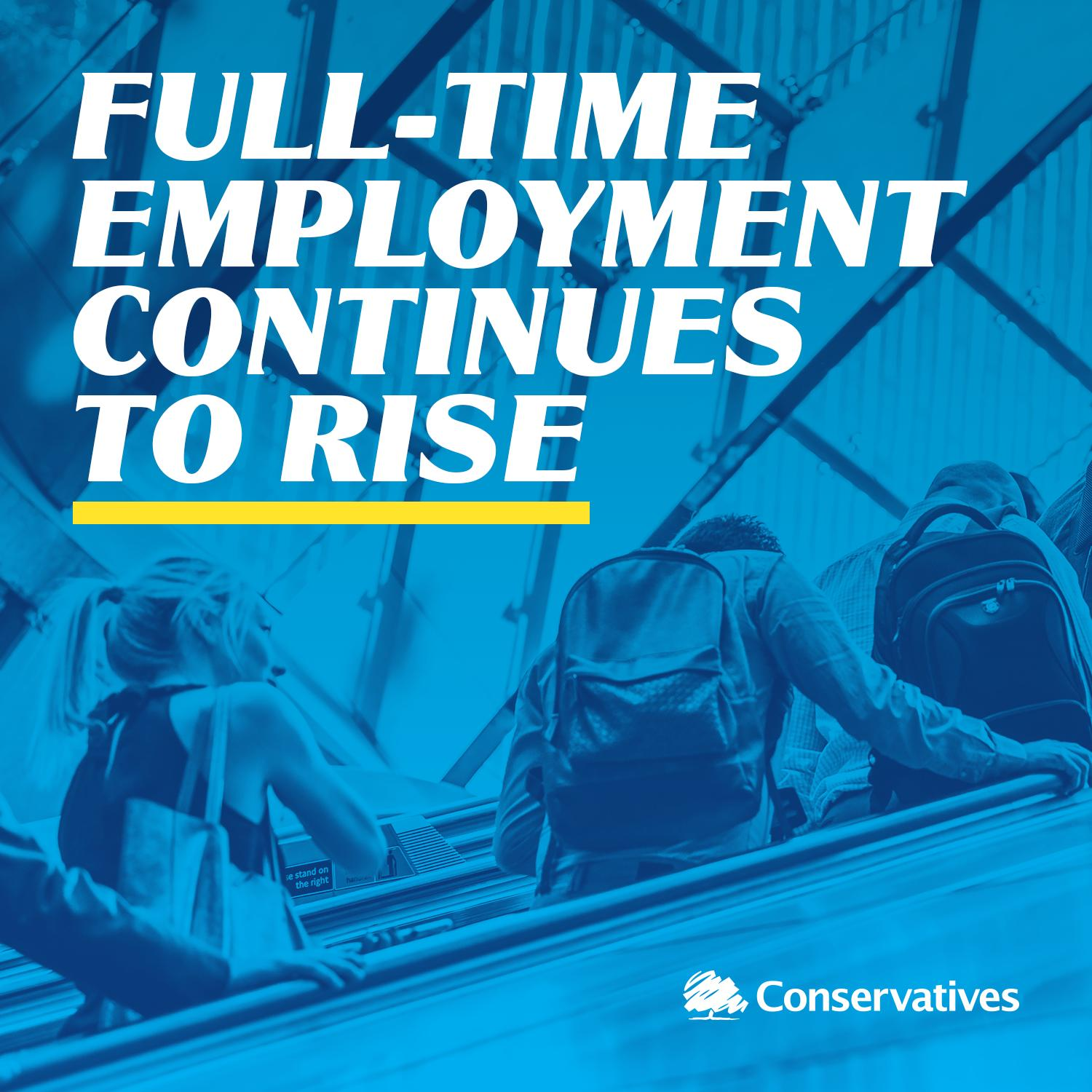 Full-time employment continues to rise - more than 300,000 new full-time jobs since last year