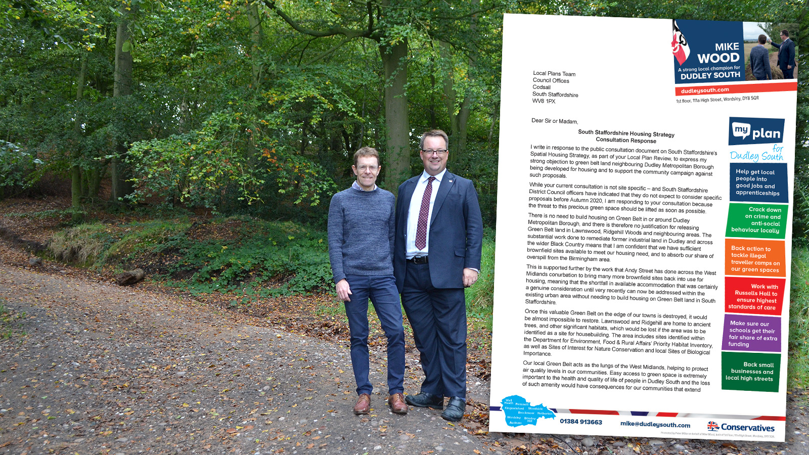 Mike has written to South Staffs Council objecting to proposals for building on Green Belt at Lawnswood and Ridgehill Woods