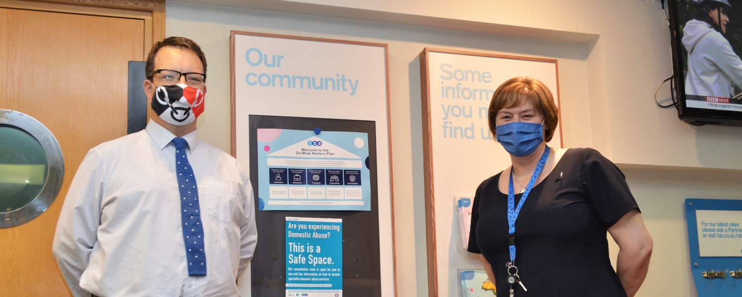 Mike Wood MP visiting the new Safe Space at TSB Merry Hill