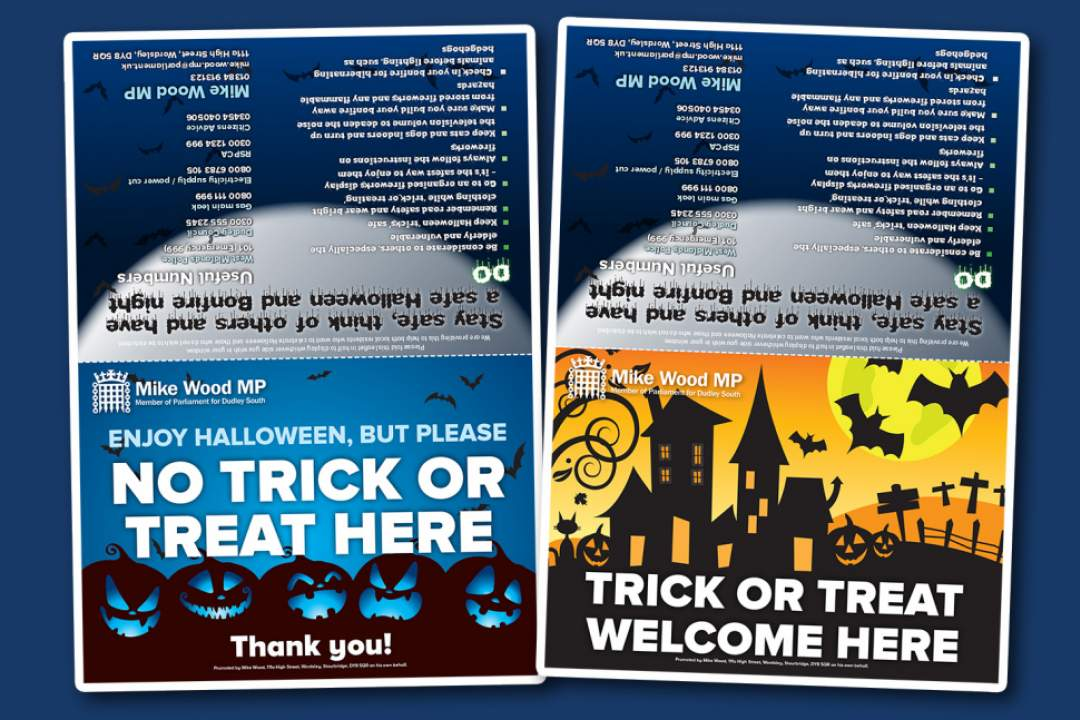 Mike has launched a choice of Halloween safety cards